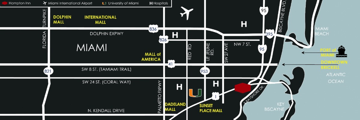 Coconut Grove Florida Map.Hotels In Miami Coconut Grove Close To The Us1 The Hampton Inn By